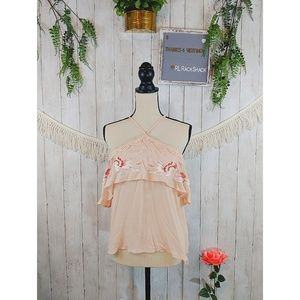 LOVE FIRE pink top ruffled, embroidery nwt